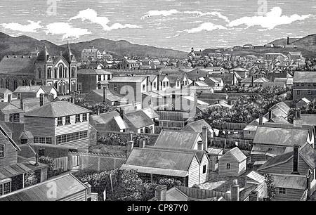 Cityscape of Wellington, New Zealand, historic engraving from 19th Century, Stadtansicht von Wellington, Neuseeland, - Stock Image