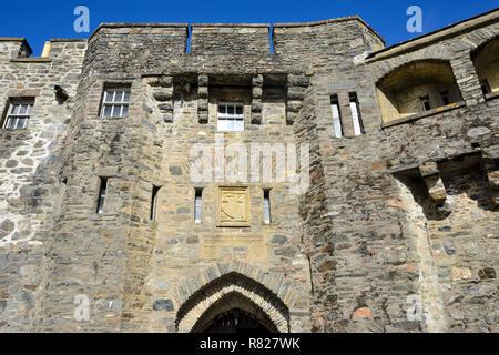 Entrance to Eilean Donan Castle on the shore of Loch Duich near Dornie in Wester Ross, Highland Region, Scotland - Stock Image