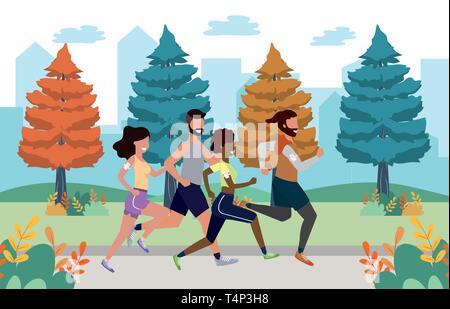 fitness sport train people running women with men cartoon vector illustration graphic design - Stock Image