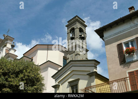 church bell tower in Sarnico, Iseo Lake, Lombardy, Italy - Stock Image