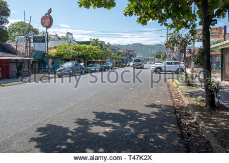 The high street of Jaco, Costa Rica - Stock Image