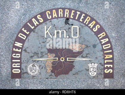 Madrid Kilometre Zero Km 0 stone indicating the geographical center of Spain from which all six national roads are measured. - Stock Image