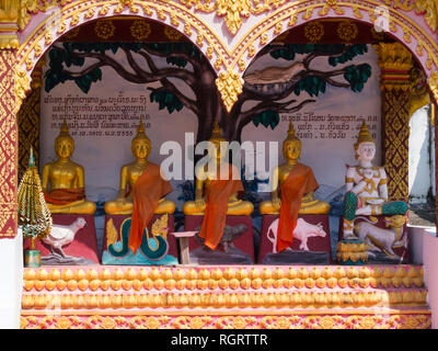 New temple in whiskey village Ban Xang Hai Laos Asia renowned for producing lao Lao rice whiskey - Stock Image