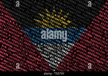 Antigua and Barbuda flag  is depicted on the screen with the program code. The concept of modern technology and site development. - Stock Image