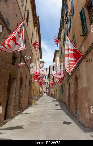 Flags of the Giraffe District (Contrada Giraffa) are hanging from the houses in the small street Via Delle Vergini in Siena, Tuscany, Italy - Stock Image