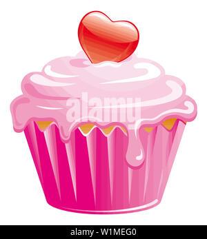 pink heart cupcake muffin love illustration dessert - Stock Image