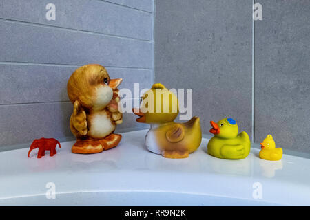 Bathroom still life. Ducks in a row, Small red plastic elephant - Stock Image