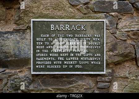 Information plate at  Ruthven Barracks, now a ruin, owned by Historic Scotland, near Kingussie in Cairngorms National Park, Scotland, UK - Stock Image