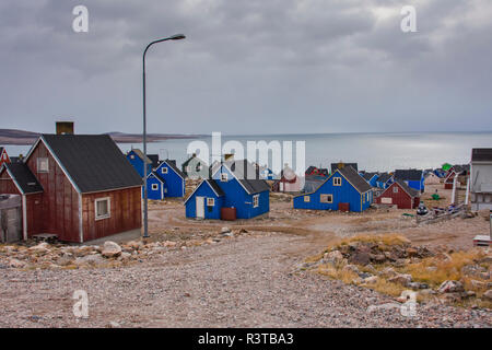 Greenland. Scoresby Sund. Ittoqqortoormiit. Colorful houses in town. - Stock Image