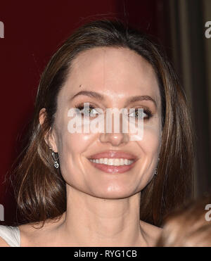 ANGELINA JOLIE American film actress at the premiere of Disney's 'Dumbo' at El Capitan Theatre on March 11, 2019 in Los Angeles, California. Photo: Jeffrey Mayer - Stock Image