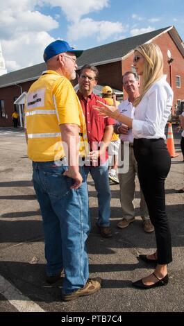 Ivanka Trump, daughter of President Donald Trump, thanks volunteers during a prepared meal program for Hurricane Florence survivors at Hyde Park Baptist Church October 3, 2018 in Lumberton, North Carolina. - Stock Image
