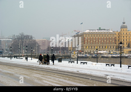 Stockholm, Sweden, in snowfall - Stock Image