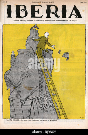 Lloyd George starts to dismantle the statue of Germania... - Stock Image