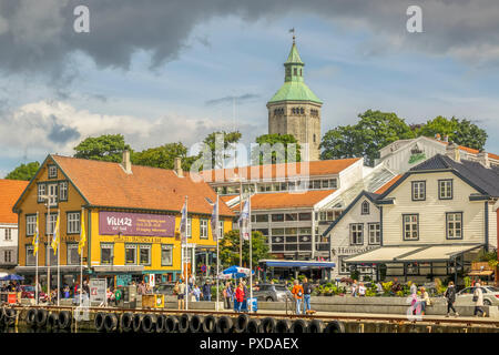 The harbour and  Valberg Tower Stavanger Norway - Stock Image