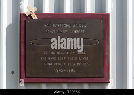 Plaque at Blackbushe Airport, Hampshire, UK, in commemoration of those who lost their lives flying from the airport 1942 - 1992, RAF Hartford Bridge. - Stock Image