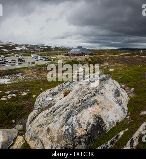 The Arctic Circle Centre on the E6 road as it crosses the 66 degrees north, Norway. - Stock Image