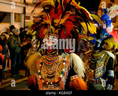 Lewes, UK - 4 November 2017: Participants from Borough Bonfire Society at Lewes Bonfire night, wearing Zulu costumes - Stock Image