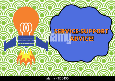 Word writing text Service Support Advice. Business photo showcasing providing help to others in verbal or action way Top view launching bulb rocket fi - Stock Image