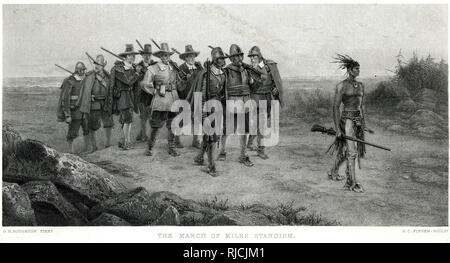 Myles Standish marches with a group of armed men, and are led by Hobbaamock, a Pokanoket man who was the Pniese (special warrior and advisor) for Massasoit. Massasoit's leadership was under threat by a Sachem, Corbitant, and this was a threat to the mutual defense treaty the colony had with the Pokanoket tribe. So Standish led a group of men to capture and kill Corbitant and uphold the treaty. - Stock Image