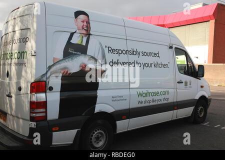 A Waitrose delivery van outside the Waitrose supermarket at Comely Bank, Edinburgh - Stock Image