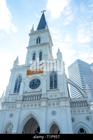 Facade of Gothic revival style CHIJMES Convent of the Holy Infant Jesus Chapel converted into social hall function event centre Singapore. - Stock Image