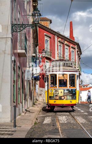 Tramway, Alfama district, Lisbon, Portugal - Stock Image