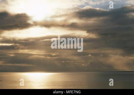 NIMBOSTRATUS CLOUDS at sunset  Bristol Bay, Alaska, USA. - Stock Image