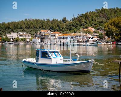 Fishing vessel in Limenas Port, Thassos, Greece - Stock Image