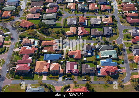 Aerial view of new housing estate Brisbane Australia - Stock Image