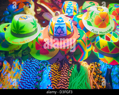 Full Moon Party merchandise and souvenirs for sale on Haad Rin Koh Phangan Thailand - Stock Image