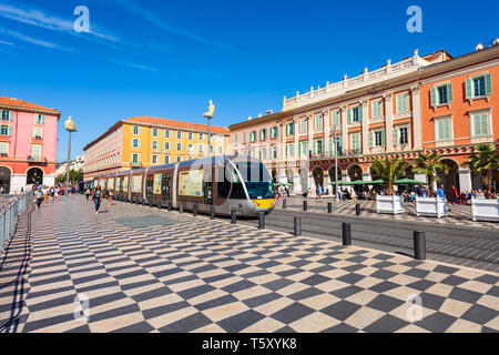 NICE, FRANCE - SEPTEMBER 27, 2018: Place Massena square in Nice city, Cote d'Azur region in France - Stock Image