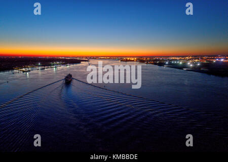 Aerial View of Sunset Over Delaware River Philadelphia PA - Stock Image