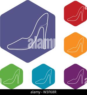 Shoe icons vector hexahedron - Stock Image