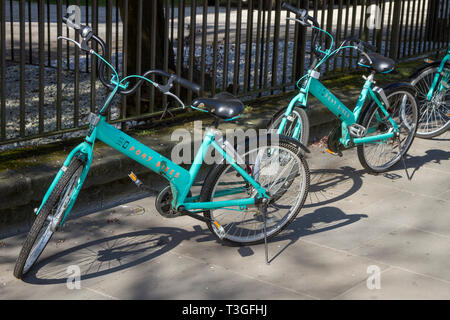 Pony Bike hire bikes in High Street Oxfoird - Stock Image