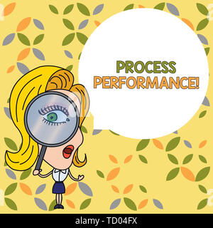 Handwriting text Process Perforanalysisce. Conceptual photo Measures Process effectively Meet organizations Objective Woman Looking Trough Magnifying  - Stock Image