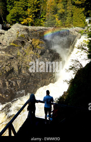 Rainbow over waterfall Saint Anne River Parc Canyon Sainte Anne Quebec - Stock Image