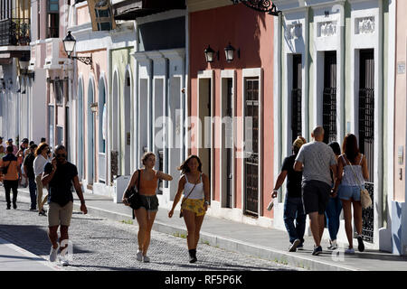 People on the street, Old San Juan, Puerto Rico - Stock Image