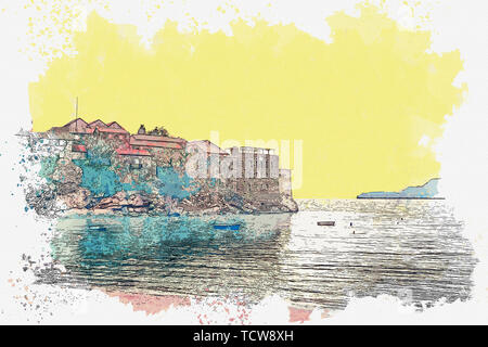 Watercolor sketch or illustration of a view of architecture or buildings on the island of Sveti Stefan in Montenegro. - Stock Image