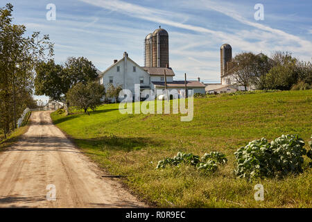 Unpaved farm lane, Pennsylvania Dutch Country, Lancaster County, Pennsylvania, USA - Stock Image