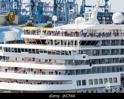 Cruise ship, river Elbe, music hall and harbor in the back, seen from plaza viewing platform of the Elbphilharmonie, - Stock Image