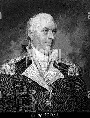 John Barry (1745-1803) on engraving from 1835. Officer in the Continental Navy during the American Revolutionary - Stock Image