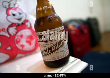 A San Miguel Pale Pilsen beer in a hotel room in Makati City, Metro Manila, Philippines. - Stock Image
