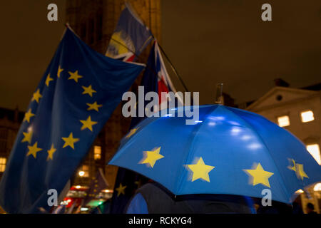 Remain protesters (pro-EU) gather outside the UK parliament Westminster before the result of MPs' Meaningfull Brexit vote which eventually brought about a massive defeat for Prime Minister Theresa May's Conservative government, on 15th January 2019, in Westminster, London, England. - Stock Image