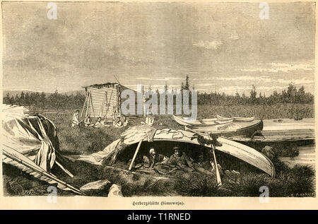 Russia,  Northwestern, Arkhangelsk Oblast?, block hut, image from: 'Das heutige Russland' (Russia today), published by H.v. Lankenau and L.v.d. Oelsnitz, publishing house Otto Spamer, Leipzig, 1876. , Additional-Rights-Clearance-Info-Not-Available - Stock Image