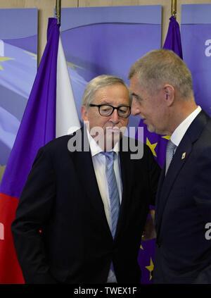 Brussels, Belgium. 20th June, 2019. Czech Prime Minister Andrej Babis, right, meets European Commission President Jean-Claude Juncker, left, on June 20, 2019, in Brussels, Belgium. Credit: Jakub Dospiva/CTK Photo/Alamy Live News - Stock Image