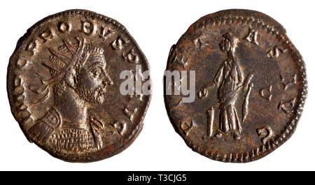 Roman coin: Antonianus from the reign (AD276 - 282) of Probus (Marcus Aurelius Probus: AD232 - 282)  Lugdunum mint, 22mm across; Reverse: 'PIAETAS AVG - Stock Image