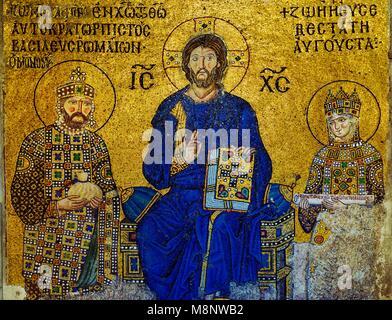 Hagia Sophia, Istanbul, Turkey. The Empress Zoe mosaic dates from 11C. Christ with Constantine IX Monomachus and - Stock Image