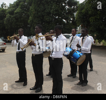 Drummer boys displaying their dexterity in the open air. - Stock Image