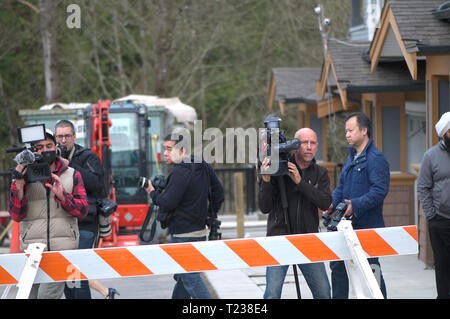 TV cameramen and equipment in Maple Ridge for a media event. - Stock Image
