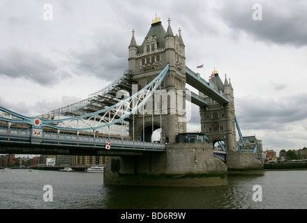 Tower Bridge, River Thames, London, UK. View from the North Bank - Stock Image